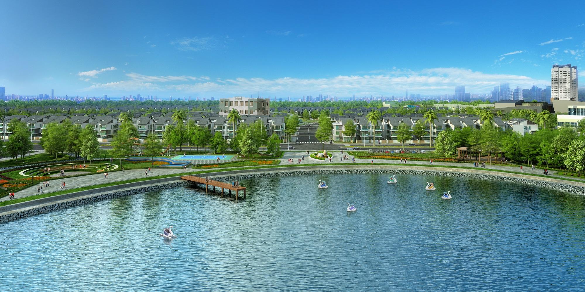 Hồ nhìn vào khu An Vượng